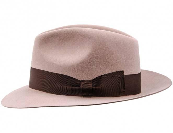 Filcowy kapelusz Fedora z króliczego włosa w kolorze różowym