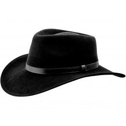 kapelusz męski czarny wełniany