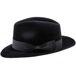 Czarny kapelusz męski fedora z filcu