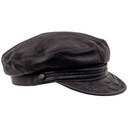 czapka brązowa damska skórzana z daszkiem maciejowka