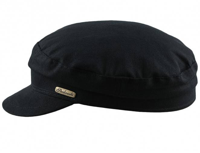 Czapka bawełniana z daszkiem męska w kolorze czarnym