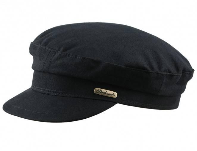Meska czapka czarna żeglarska z bawełny
