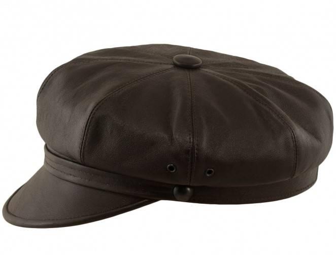 Brązowa czapka z daszkiem motocyklowa letnia z naturalnej skóry