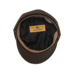 Damska czapka skórzana z daszkiem harlejówka