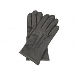 Ciepłe rękawiczki czarne ze skóry jelenia