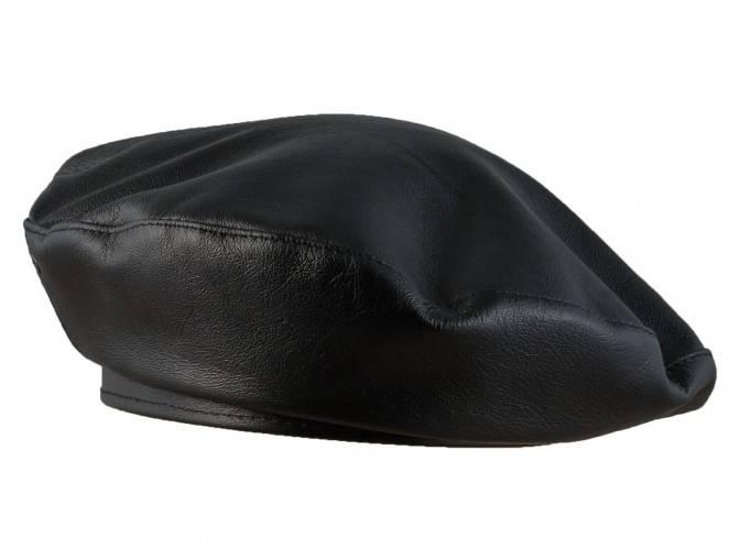 Męskie beret czarny ze skóry naturalnej