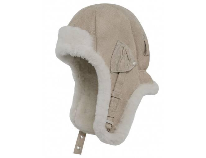 Czapka pilotka męska beżowa - sklep z czapkami sterkowski