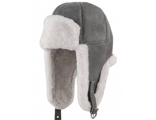 Zimowa czapka damska szara z nausznikami - sklep z czapkami warszawa
