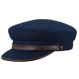 Granatowa czapka z wełny na jesień