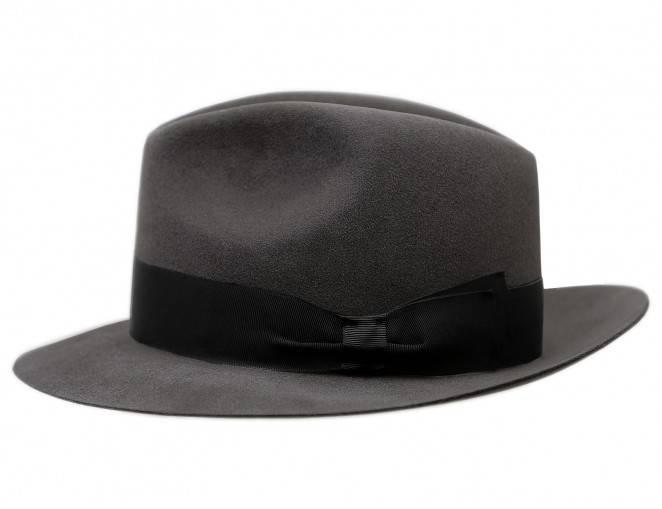 kapelusz męskie fedora szara