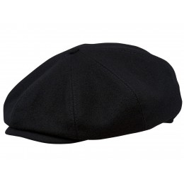 Czarna czapka męska z sukna wełnianego