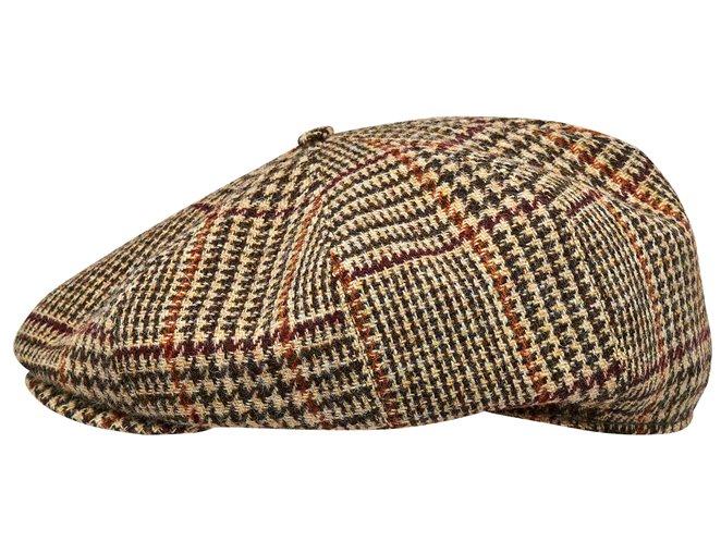 Beżowa czapka męska w kratę