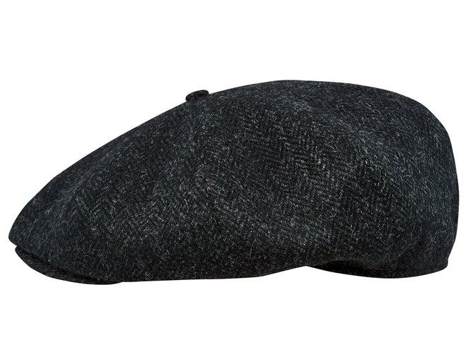 Kaszkiet męski czarny - modna jodełka