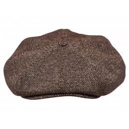 Czapka z daszkiem zimowa z tweedu wełnianego