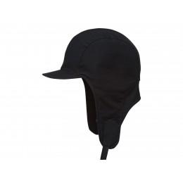 Damska czapka traperka pilotka czarna z bawełny woskowanej wodoodporna i wygodna