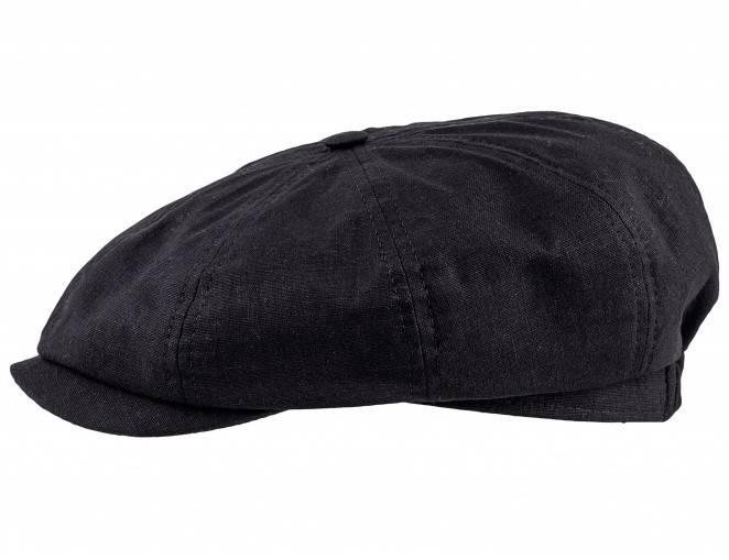 Czarna czapka z daszkiem letnia z lnu