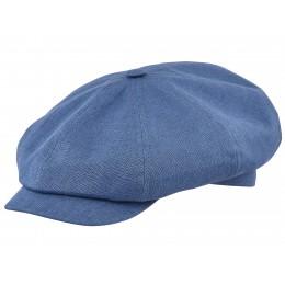 Niebieska czapka z daszkiem letnia z lnu