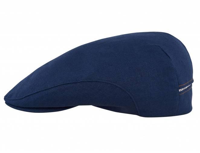 Męska czapka kaszkiet lniana w kolorze granatowym na lato