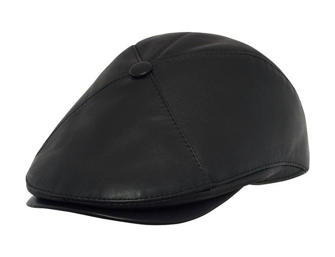 Elegancka czapka męska czarna z daszkiem sklep warszawa sterkowski
