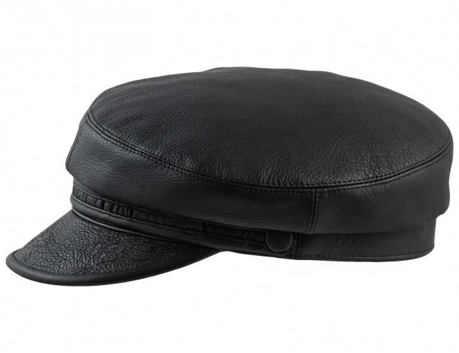 Skórzana czapka z daszkiem skórzanym
