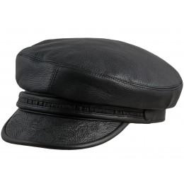 Skórzana czapka męska czarna