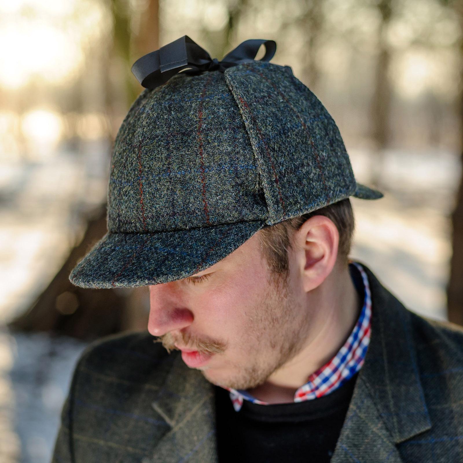 Czapka myśliwska Deerstalker w stylu Sherlocka Holmesa z wełny Harris Tweedu