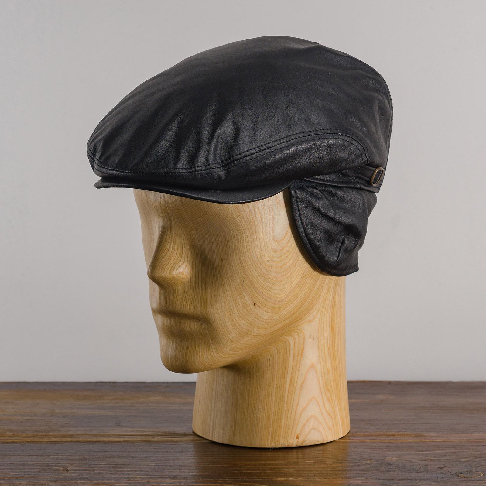 Czapka angielka ze skóry naturalnej z daszkiem na zimę i na jesień - sklep z czapkami sterkowski warszawa
