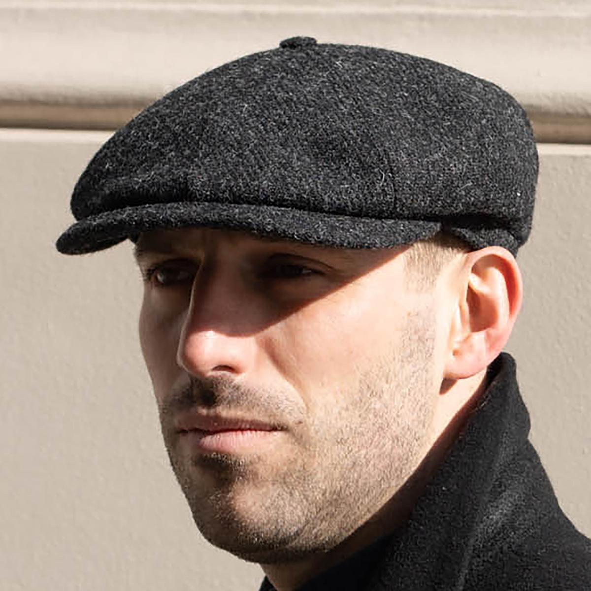 Zimowa czapka męska kaszkiet na chłodne dni ze szkockiego Harris Tweedu