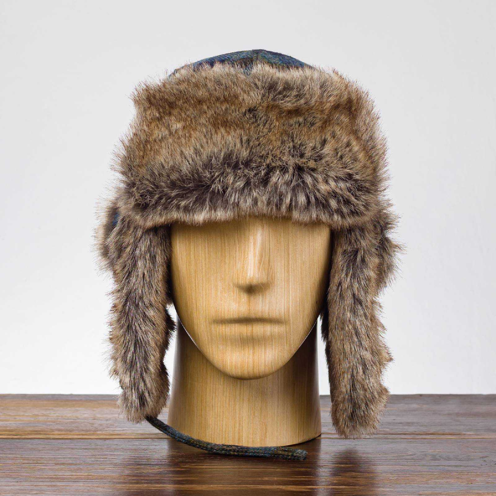 Ciepła czapka traperka na jesień z wełny szetlandzkiej.