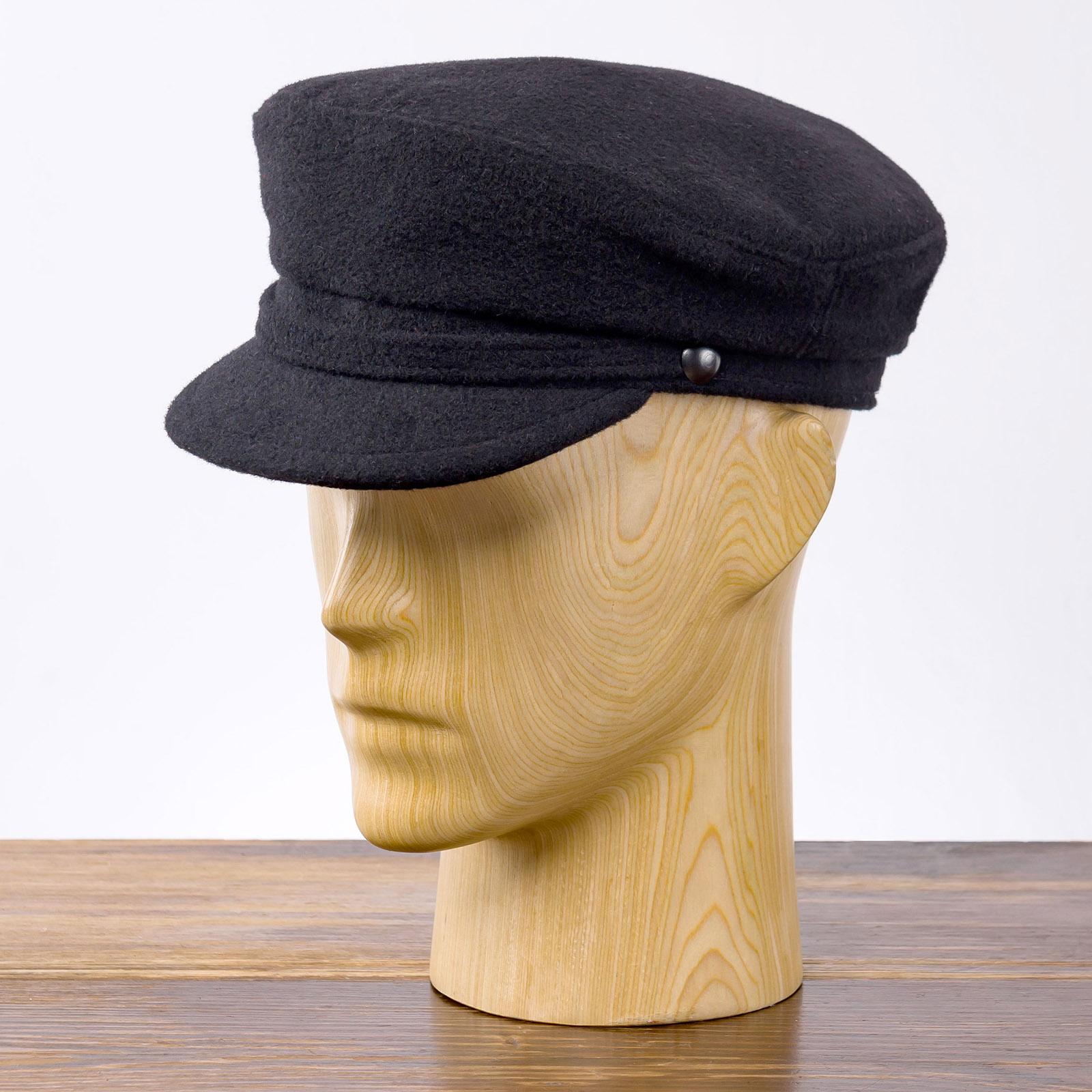 Pireus - maciejówka czapka bosmanka, elegancka bretonka z daszkiem
