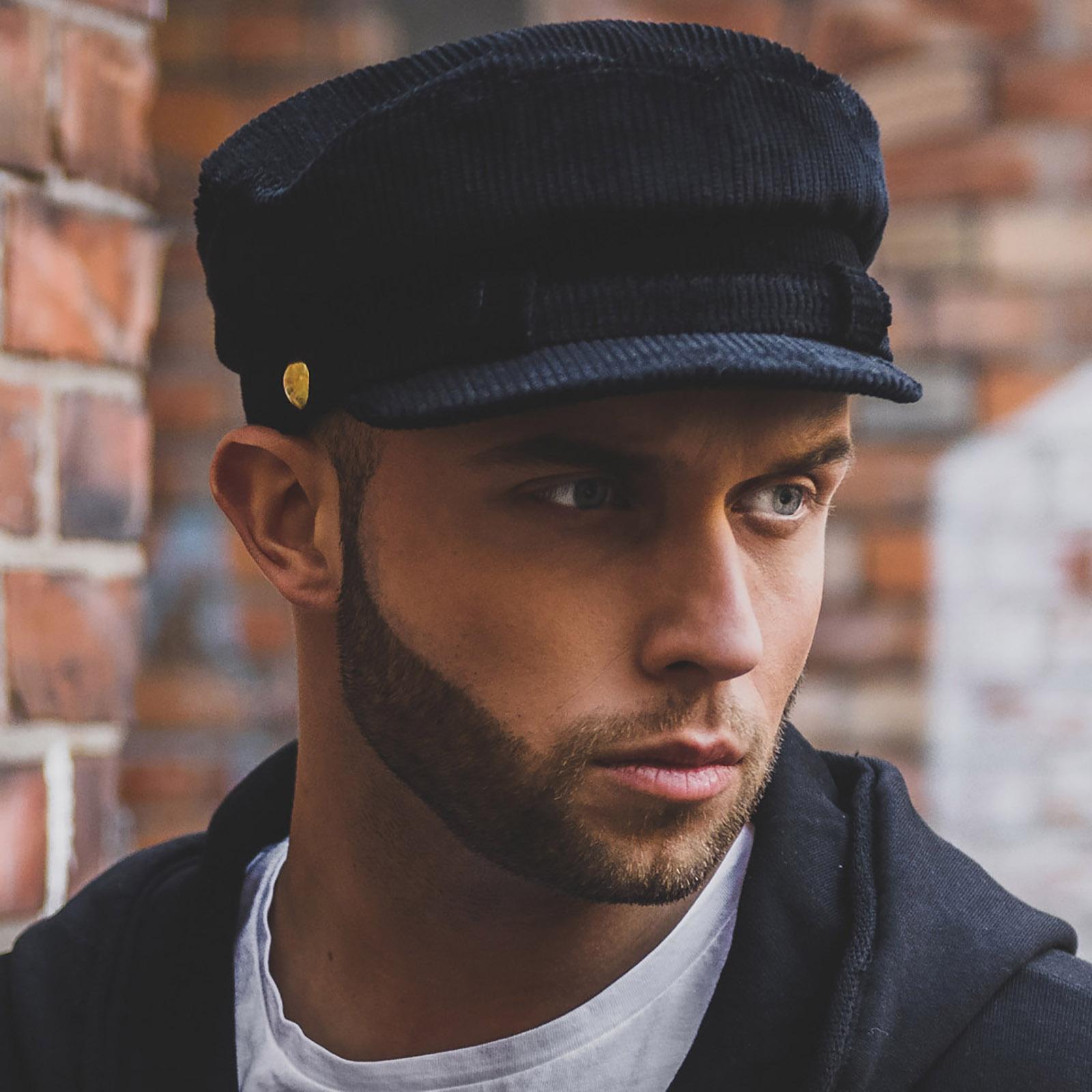 Bawełniana sztruksowa czapka bretonka w stylu Johna Lennona ręcznie szyta