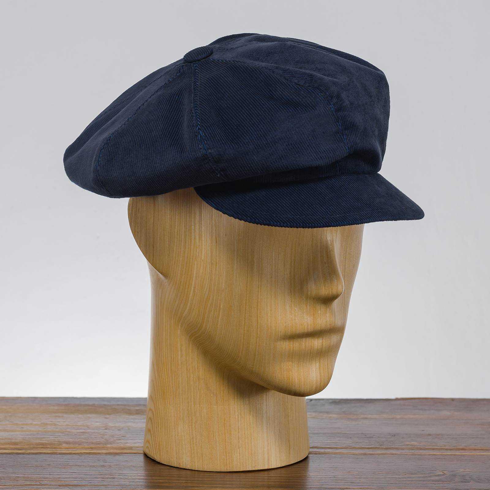 Bawełniana sztruksowa czapka kolarka zwana cyklistówką z daszkiem