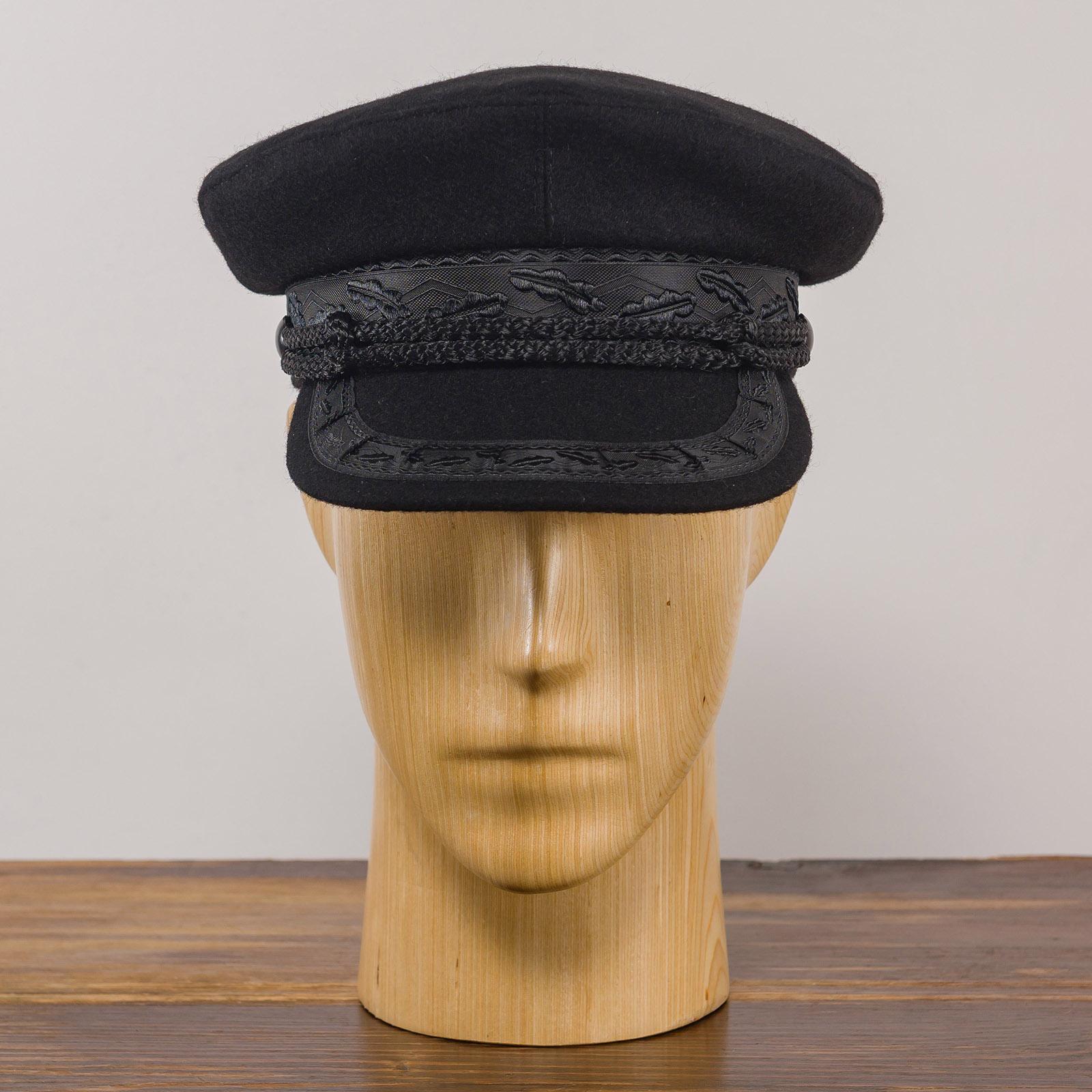 Kaszubka Model 1 - kapitańska czapka marynarska z daszkiem, wełna