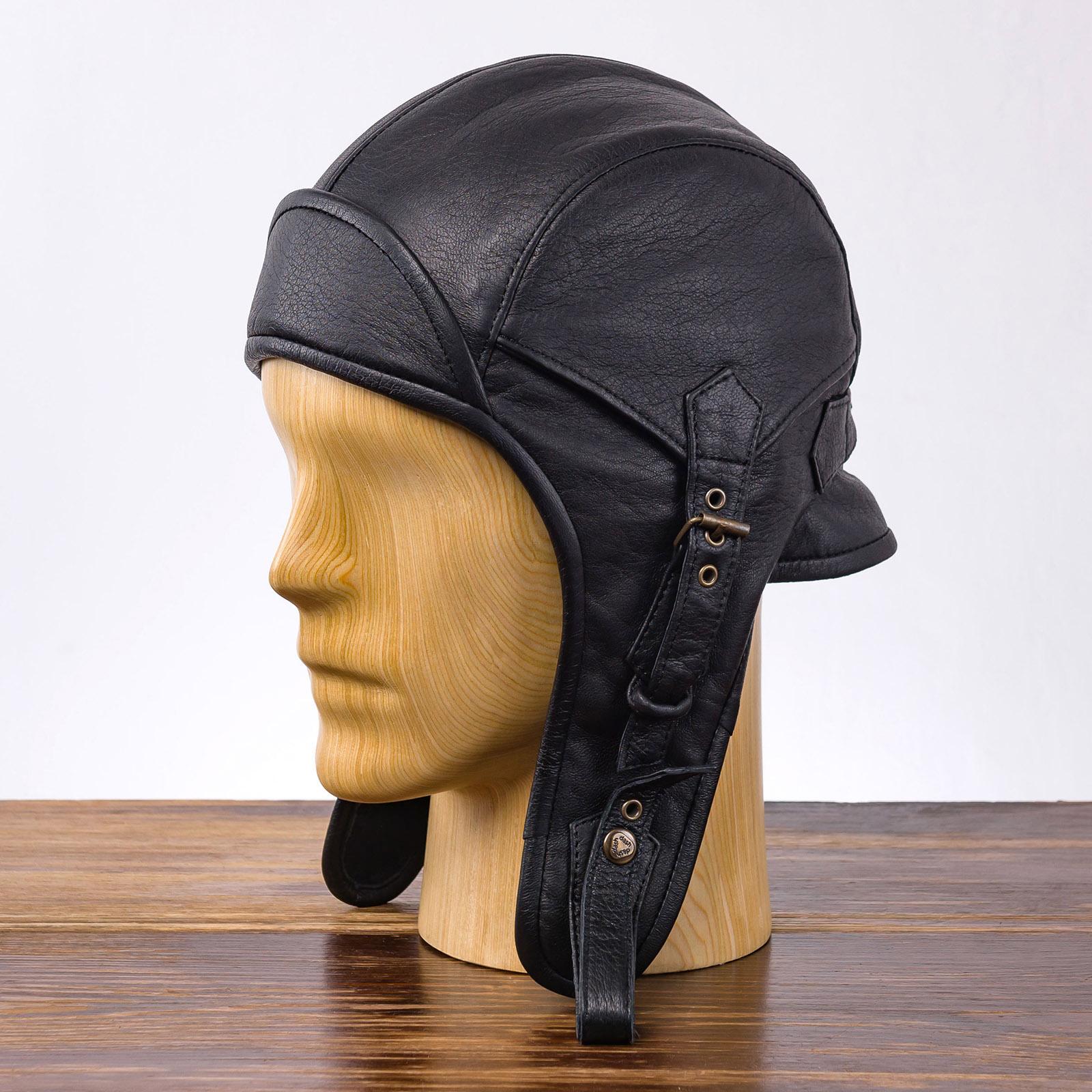Skórzana czapka pilotka dla mężczyzn i kobiet na zimę,jesień