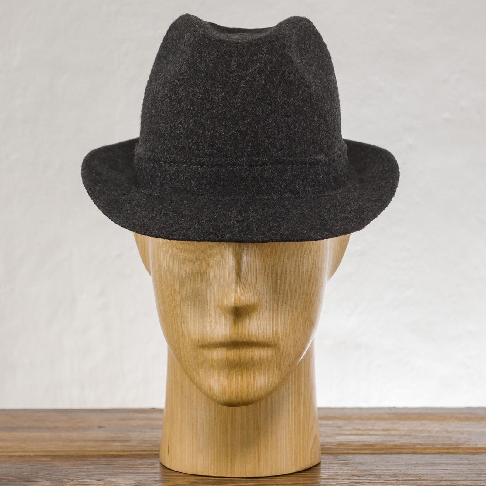 Klasyczny kapelusz męski Trilby z wąskim rondem, uszyty z sukna wełnianego